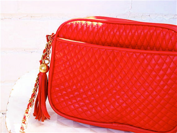 Vintage Red Quilted Purse - Gold Chain, Chanel Style