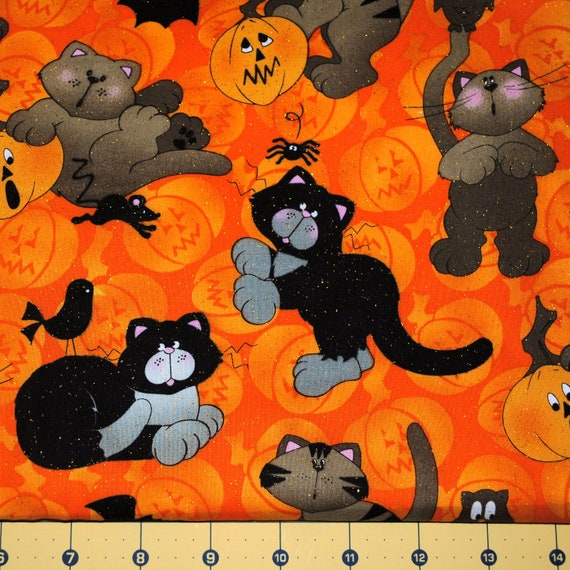 Fat Quarter Halloween Playful Kittens with Owls Spiders and Pumpkins