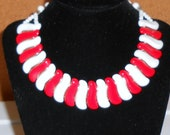 Vintage Unusual Shape & Style West Germany Red White Glass Necklace