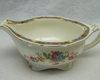 vintage Alfread Meakin Loretto gravy boat,pink blue flowers,shabby chic,decor,collectible,porcelain gravy boat,