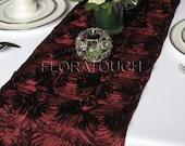 Satin Ribbon Rosette Wedding Table Runner - Burgundy