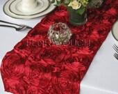 Dark Red Satin Ribbon Rosette Wedding Table Runner
