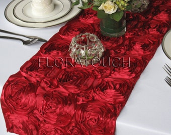Dark Red Satin Ribbon Rosette Wedding Table Runner