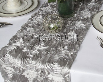 Silver Satin Ribbon Rosette Wedding Table Runner