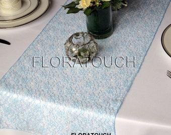 Light Blue Lace Wedding Table Runner