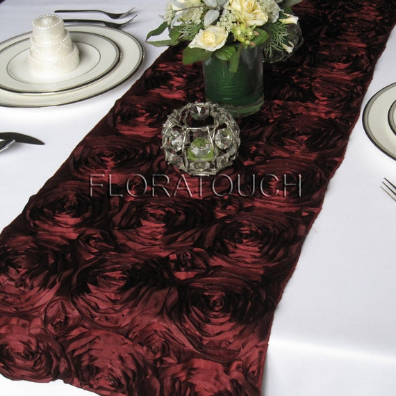 Perfect Burgundy Satin Ribbon Rosette Wedding Table Runner