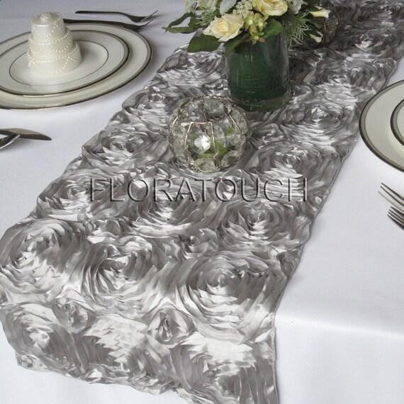 Silver Satin Ribbon Rosette Wedding Table Runner
