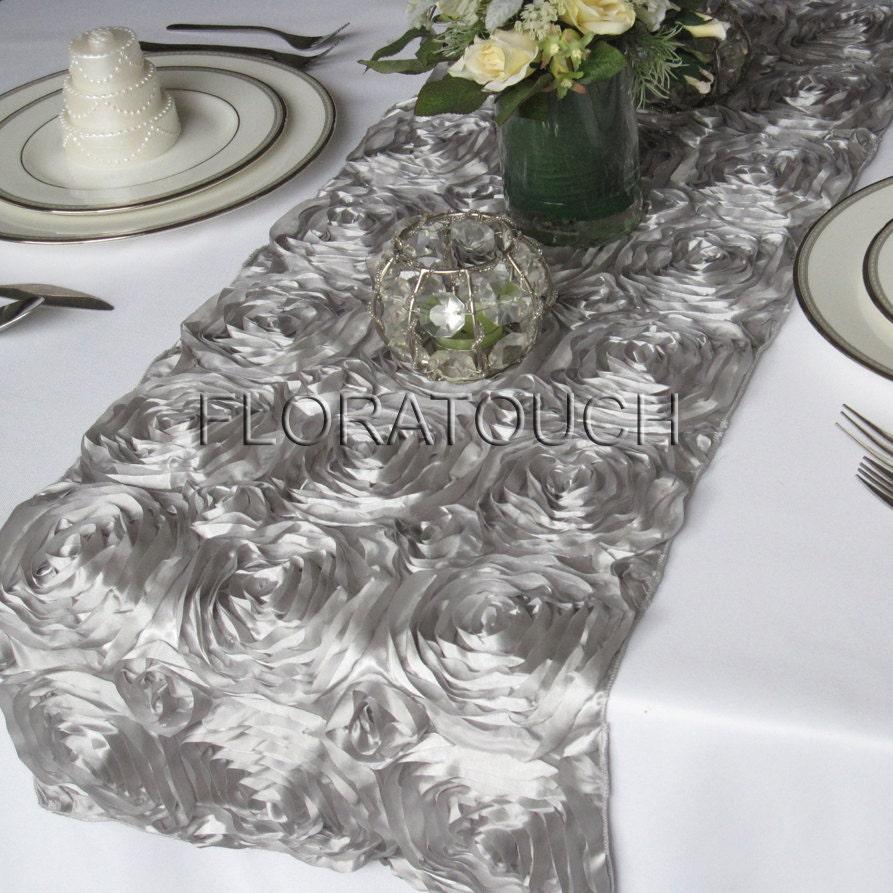 silver satin ribbon rosette wedding table runner. Black Bedroom Furniture Sets. Home Design Ideas