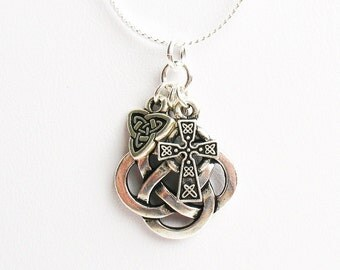Celtic Knot Necklace, Irish Necklace, Celtic Necklace  - Celtic Round Knot, Celtic Cross, and Celtic Trinity Knot - on Sterling Silver Chain