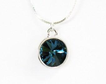 Swarovski Blue Rivoli Necklace - on Sterling Silver Chain - Swarovski Crystal