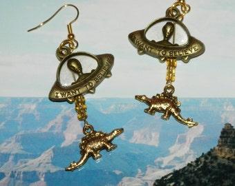 Alien Abduction of Stegosaurus Earrings, UFO Extraterrestrial Flying Saucer