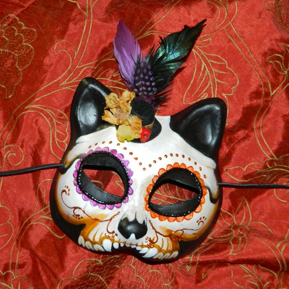 Mask Dia de Los Muertos Mexican Mini Top Hat Day of the Dead Kitty Cat