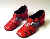 60s vintage Vivid Red T Strap Casualets Sandals