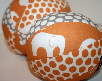Organic Fabric Rattle Ball - Elephant Parade - Orange and Grey - Boy or Girl - Baby or Toddler