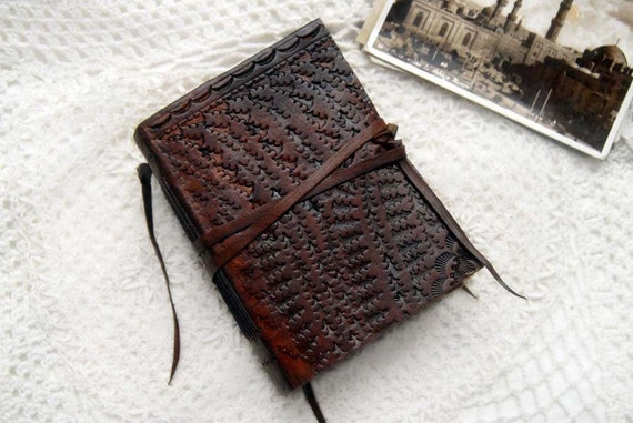 The Archivist - Vintage Tooled Leather Journal with Rustic Tea Stained Pages, Vintage Ink Stamps & Mixed Paper Ephemera