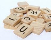 50 Scrabble Tiles - Original - Natural Wood - Scrabble Tile Pendants - Magnets