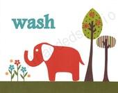 Target Circo Elephant, Children's Art Print, Kids Room Decor, Elephant, Bath Room, 8x10 Art Print, Personalized,