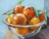 Big Glass Bowl of Delicious  Fresh Picked Florida Oranges, Tangerines on Blue, Still Life Original Still Life Painting by Clair Hartmann