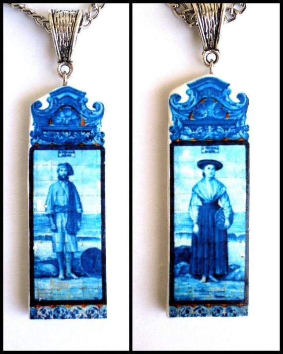 Portugal Peixeira and Pescador Azulejos Antique Tile Mural Replica Necklace 2 sided -Nice wedding gift Husband Wife Bride Groom