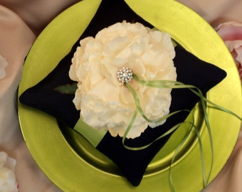 Romantic Bloom Ring Bearer Pillow with Crystal Rhinestone Accents..shown in navy blue midnight/apple green/ivory