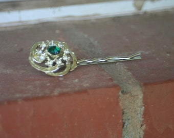 H76 Vintage Upcycled Emerald Green Rhinestone Hair Pin