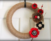 "Black, White, & Red  Wreath- 14"""