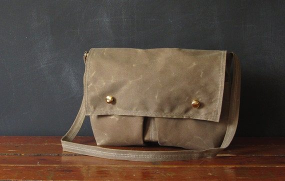 on sale. the SCOUT messenger bag. brown waxed canvas.