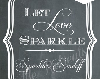 INSTANT DOWLOAD. Sparkler Sendoff Sign. Chalk board Art. Wedding Exit. PDF Dowload. Wedding Reception