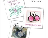 Printable mini cards, custom seller thank you, holly christmas cards, downloadable stationery