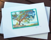 Gift card 3D photo - tree on beach in summer - birthday - thank you - any occasion nature print