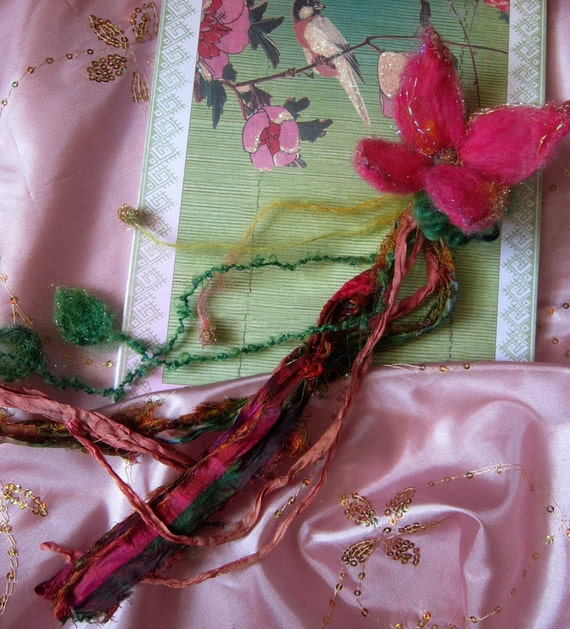 needle felted enchanted forest bookmark/hair adornment - faerie fantasy dream flower