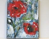 "Floral Still Life, Red Acrylic Abstract Flower Painting, Original Art on Canvas, 8"" x 10"""