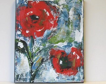 """Floral Still Life, Red Acrylic Abstract Flower Painting, Original Art on Canvas, 8"""" x 10"""""""