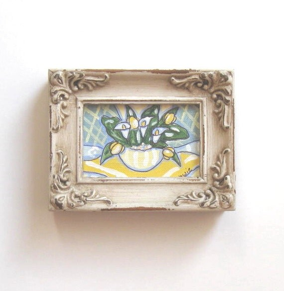 Yellow Acrylic Still life on Canvas, Minature framed Painting, goft for her