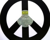 PEACE SIGN silhouette made from vinyl record album WOODSTOCK