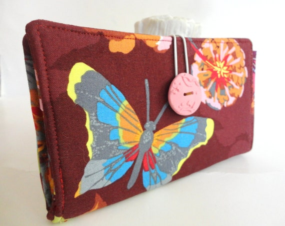Handmade Tampon and Pad Clutch Holder in Rust Aqua Blue Pink Butterfly Flower Privacy Wallet Time of the Month Clutch - Butterfly
