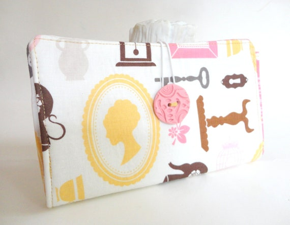 Handmade Tampon and Pad Clutch Pink Cream Mustard Yellow Privacy Wallet - Cameo