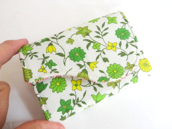 Business Card Holder - Kelly Green Mustard Yellow Mini Floral Fabric Handmade Card Wallet - Celtic Fields