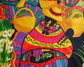 SALE 40% Off through 8/1 - SOUTHWEST Mexican Women Fabric RARE Alexander Henry Zocalo Design - 1 Yard