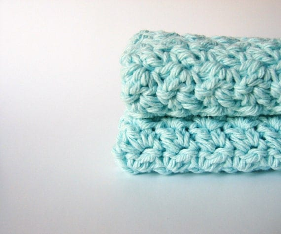 Crochet Washcloths Mint Green Eco Friendly Cotton Face Scrubbies - Set of 2 - READY TO SHIP
