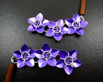 Pair of Purple Cascading Scale Flower Hair Sticks