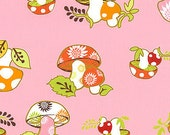 Better Gnomes and Gardens Pink Mushroom 1 yard Fabric - In The Beginning fabric - Heather DuPont - Pink Mushroom Fabric - Woodland Fabric
