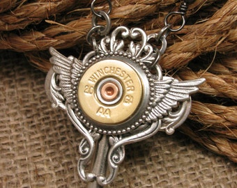 Shotgun Casing Jewelry - Winchester 20 Gauge Steampunk Styled Winged Skeleton Key Necklace