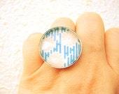 Japanese  Ring  Yuzen  Washi Chiyogami  Paper Ring Domed Glass Kiku Chrysanthemums SALE