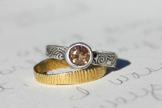 brown sapphire engagement ring . recycled silver brown sapphire ring  . ready to ship size 6.5 free shipping
