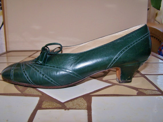 9 M Oxford Pumps Designer shoes PERRY ELLIS Forest / Hunter Green classic