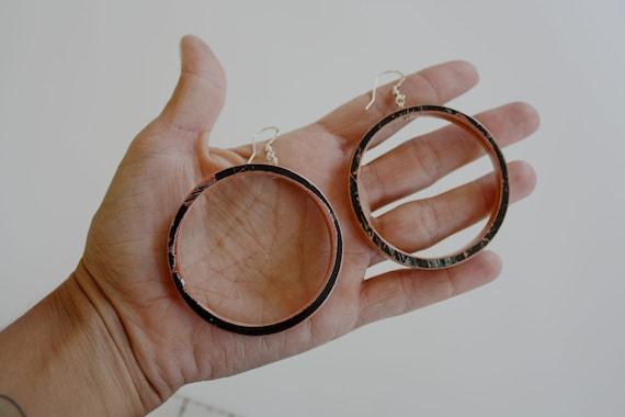 Recycled Skateboard Large Hoop Earrings-Black