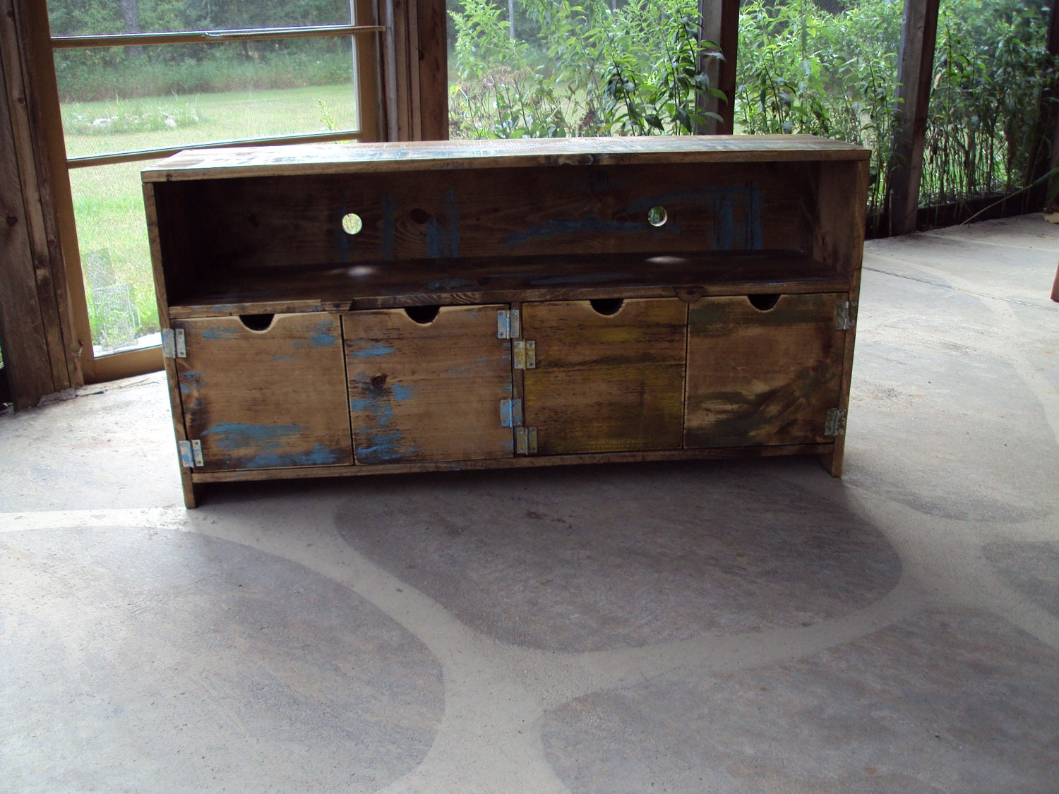 Short Media Cabinet 48 Inch Wide Media Console Reclaimed Tv Stand Old Barn Wood