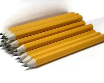 Vintage Pencils Mini Golf Wooden Shiny Yellow Gold for Jewelry Making or Teacher Supply Collectibles Back to School Supplies Short Wood