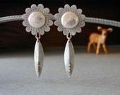 Sterling Silver Earrings, Coin Pearls, Silver Flowers, Dangle Earring, 14kt Gold, Handmade Jewelry